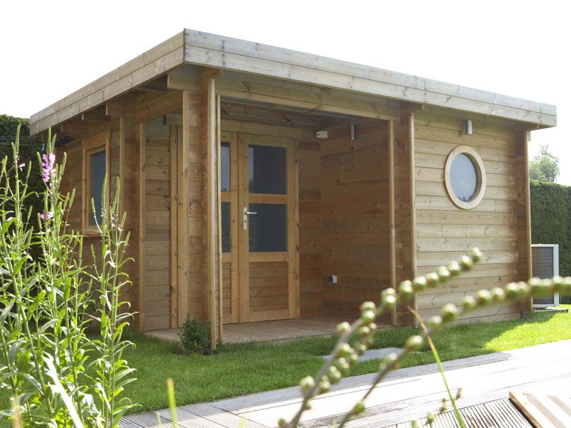 Pool house abri bois bleu creations - Hammam exterieur bois ...