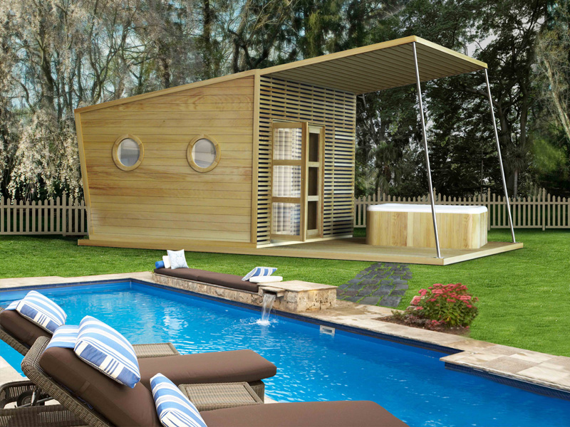 Pool house abri bois bleu creations - Abri de jardin pool house ...